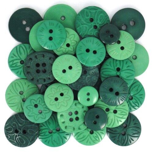 Jesse James Buttons COLOR ME GREEN ~ Round Sewing Buttons Dress It Up