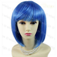 Stunning Cosplay Heat Resistant Blue Bob Style Short Ladies Wigs from WIWIGS UK