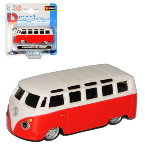 VW volkswagen t1 Rouge Blanc Samba Bully Bus 1950-1967 1//64 Bburago Modèle Voiture...
