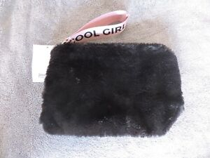 ebafe66b16 Image is loading Stradivarius-ZARA-Group-Black-Faux-Fur-Clutch-Bag-