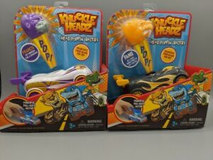 Lot-of-2-Knuckle-Headz-Head-Poppin-039-Racecar-Boys-Toys-Fang-And-Francis-NEW