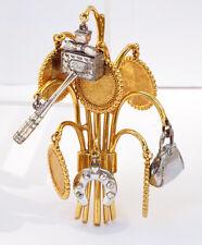 Vintage Christian Dior signed Pin Brooch huge goldtone dangling charms