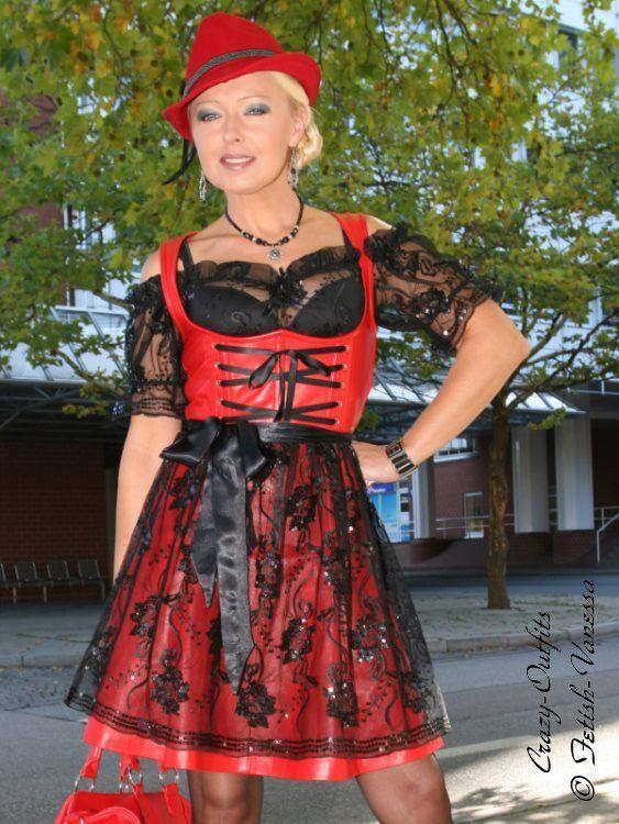 Cuero bávara vestido de cuero de  cuero bávara rojo tamaño 32 - 58 XS-XXXL  mas barato