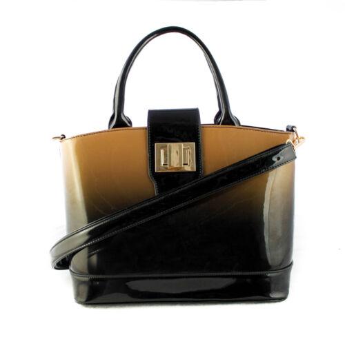 Golden Clasp Women Shiny Patent Shoulder Bag// Tote// Top-handle Shopper Handbag