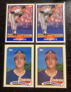 John Smoltz RC Lot 1989 Score #616(2) 1989 Topps #282(2) Atlanta Braves