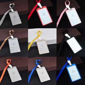 New Aluminum Pocket Credit ID Card Badge Tag Holder Case Neck Strap Lanyard 1pc
