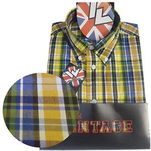 Warrior-UK-England-Button-Down-Shirt-STRUMMER-Slim-Fit-Skinhead-Mod-Retro