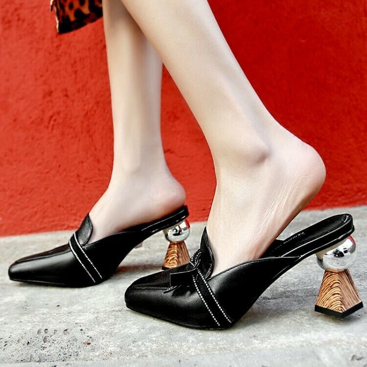 Women's Leather Mules High Heels Fashion Sandals Sandals Sandals Square Toe shoes US 4.5-10 a54980