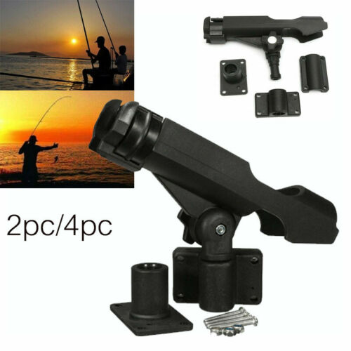 BOAT YACHT FISHING ROD HOLDER REST STAND ROTATABLE WITH FIXING MOUNT SCREWS XMAS