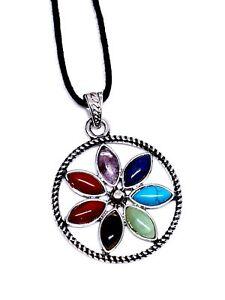 7-Seven-Chakra-Colgante-de-Flor-Piedras-Preciosas-Cristales-Reiki-Cargado-Cordon