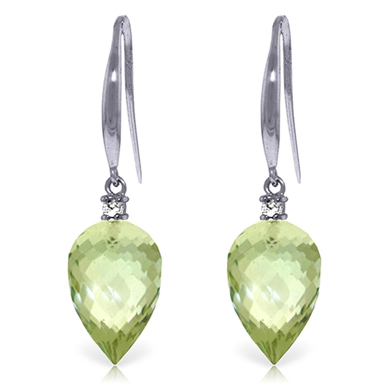 19.1 CTW 14K Solid White gold Fish Hook Earrings Diamond Green Amethyst