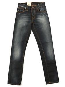 Nudie-Herren-Damen-Unisex-Slim-Fit-Jeans-Hose-Grim-Tim-Metallic-Blue