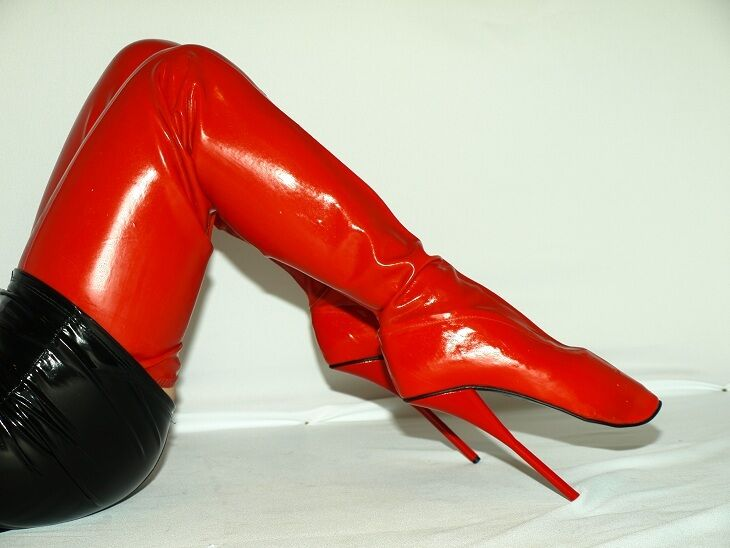 BLACK OR RED LATEX RUBBER BALLET BOOTS SIZE 10-16 HEELS-8,5' HEELS-8,5' HEELS-8,5' - PRODUCER-POLAND 0369d2