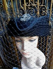 Black Tricorn Hat With Veil & Vintage Rhinestone Clip Brooch Made In Italy