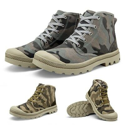 New Men's Casual Shoes Camo Lace-up High Top Flats Male Round Toe Canvas Shoes