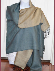 Hand-Woven-Double-Sided-Silk-Shawl-in-Green-and-Beige-Color-from-India