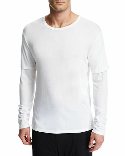 VME207 NWT VINCE DOUBLE LAYER SLEEVE MEN TEE SIZE S in W 125