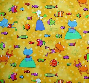 crazy-bright-frogs-amp-fishes-on-yellow-fabric-78cm-x-112-cm-100-Cotton-3571