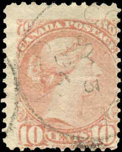 Canada-Used-1877-10c-F-Scott-40-Perf-12-Small-Queen-Stamp