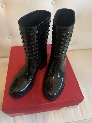 Valentino Black Garavani Rockstud Rain Boots/Booti