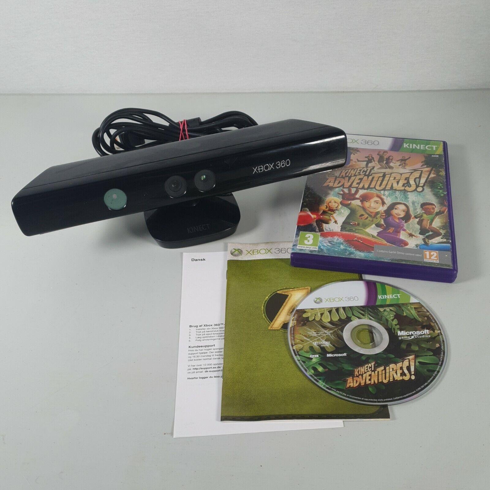 Xbox 360 Kinect Sensor Bar + Kinect Adventures Game | Model 1414 Tested Working