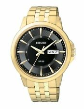 Mens Citizen Quartz Gold Tone Stainless Black Dial Day and Date Watch BF2013-56E