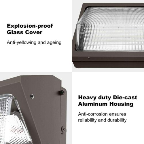 100W LED WALL PACK 5000K IP65 12,000 lumens Glass Lens Outdoor AC 347-480V