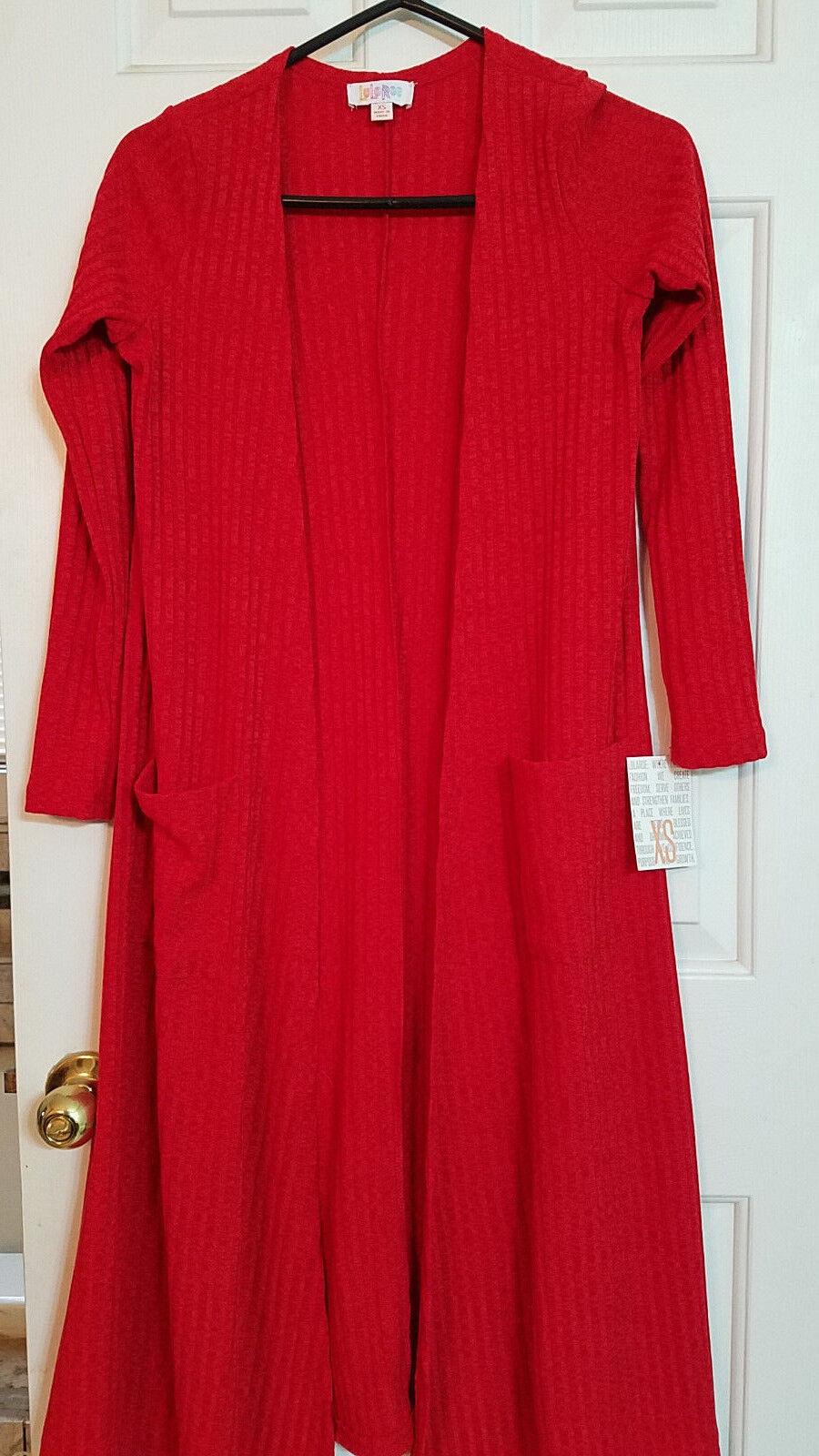 NWT LulaRoe Sarah full-length cardigan sweater, solid red ribbed material XS