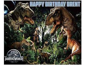Jurassic park world dinosaurs personalised birthday cake topper on image is loading jurassic park world dinosaurs personalised birthday cake topper gumiabroncs Images