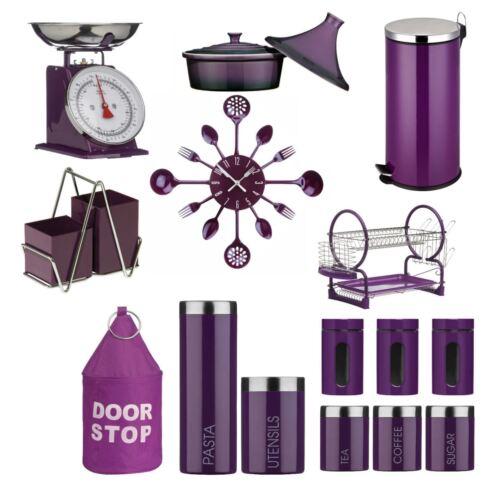 Purple Tea Coffee Sugar Kitchen Storage Jars Canistes Matching Dish Clock NEW