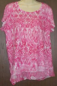 Cato-Woman-Blouse-Size-18-20-W-Hot-Pink-White-Floral-Beaded-Collar-Short-Sleeve
