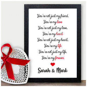 Image Is Loading Keepsake Personalised Love Poem Verse Birthday Gifts Boyfriend
