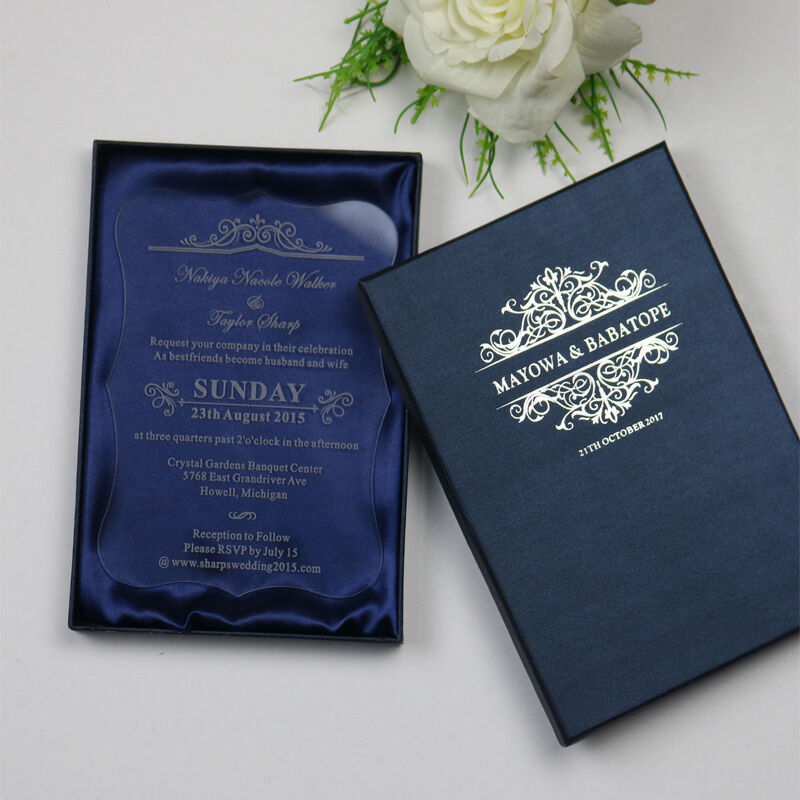 Personalized Acrylic Wedding Invitation Card,Party Engagement Invites,bleu boxes