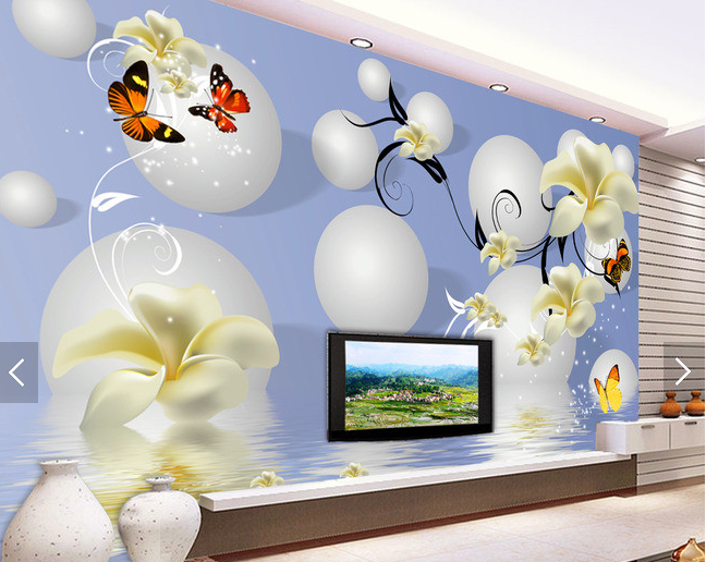 3D Round Flowers 72 Wallpaper Mural Paper Wall Print Wallpaper Murals UK Carly