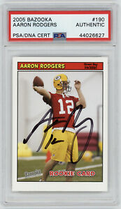 2005-PACKERS-Aaron-Rodgers-signed-ROOKIE-card-Topps-Bazooka-190-PSA-DNA-AUTO-RC