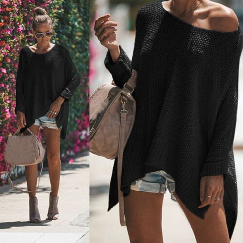 Women/'s Ladies Casual Jumper Long Sleeve Loose Knitted Sweater Shirt Blouse Tops