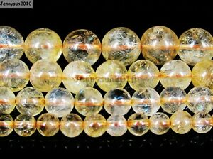AAA-Natural-Citrine-Gemstone-Round-Loose-Beads-15-039-039-Strand-4mm-6mm-8mm-10mm-12mm