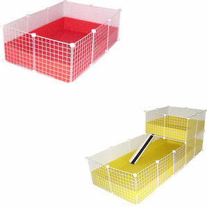 WHITE-C-amp-C-GUINEA-PIG-CAVY-LARGE-INDOOR-PLAY-PEN-CAGE-CUSTOM-BUILD-METAL-GRID