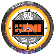 "Chrysler Mopar 50th Anniversary Hemi Orange Neon Hanging Wall Clock 15"" Diameter"