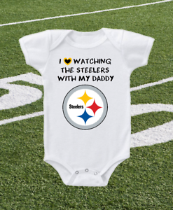 Pittsburgh Steelers Onesie Bodysuit Shirt Love Watching WIth Daddy
