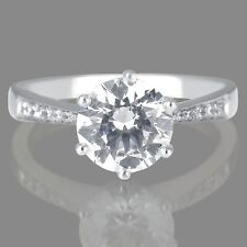 1 1/4 CT New Diamond Enhanced Engagement Ring Round Cut F/SI2-I1 14K White Gold