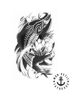 Tatouage Temporaire Ephemere Realiste Carpe Koi Fleur De Lotus