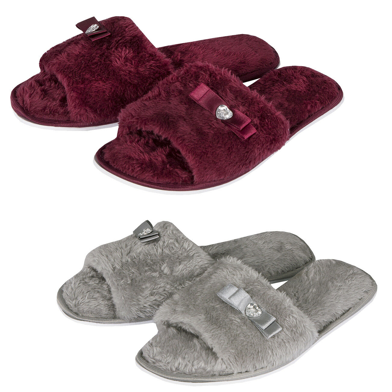 Ladies Womens Slip On Memory Foam Jewel Bow Faux Fur Flat Slippers Gift size 3-8