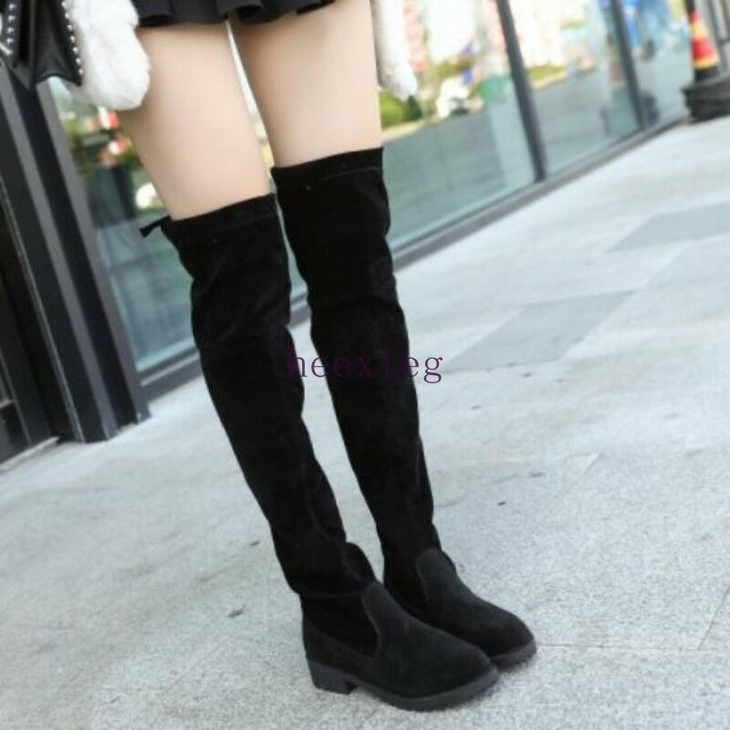 Korean Womens Riding Knight shoes Over Knee Boots Solid Suede Pull On Flat Heels