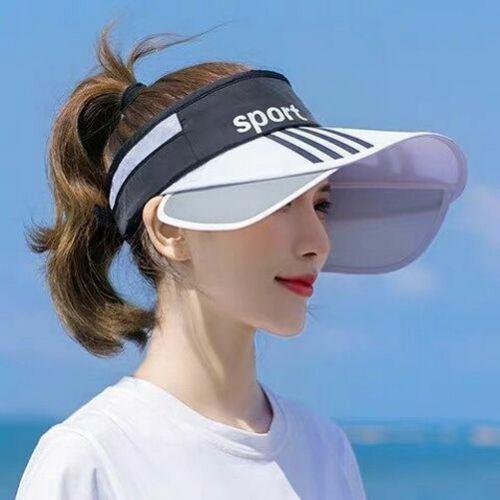 Women Summer Wide Brim Sun Cap UV Protection Retractable Visor Hat Beach Sport