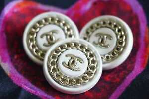 100-Chanel-buttons-3-pieces-metal-cc-logo-white-silver