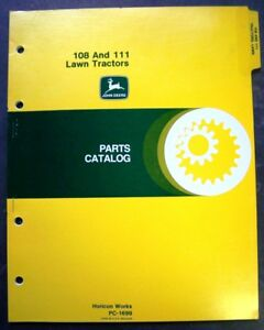 John Deere Model 108 And 111 Lawn Tractor Dealer Parts Book Manual