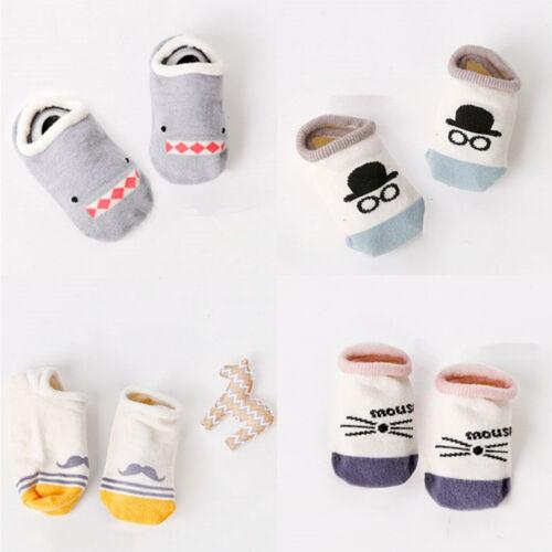 2x Baby asymmetrische Schiff Socke Cartoon Socke Kid rutschfeste Boden PDH W0HWC