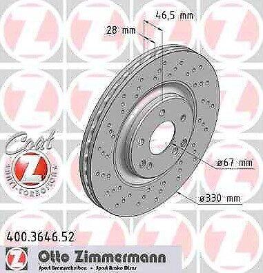 Disque de frein avant ZIMMERMANN PERCE 400.3646.52 MERCEDES-BENZ CLASSE CLC CL20