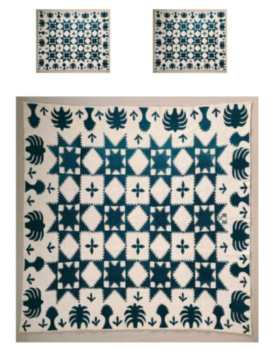Miniature Dollhouse feathered star blue white Quilt Top Computer Printed Fabric